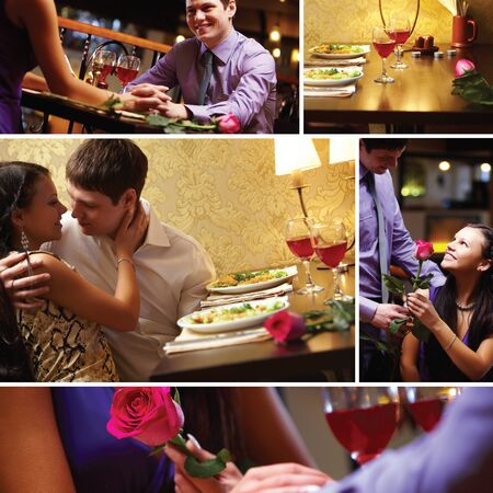 Collage of loving couple at Valentine�s Day Stock Photo - 9353404