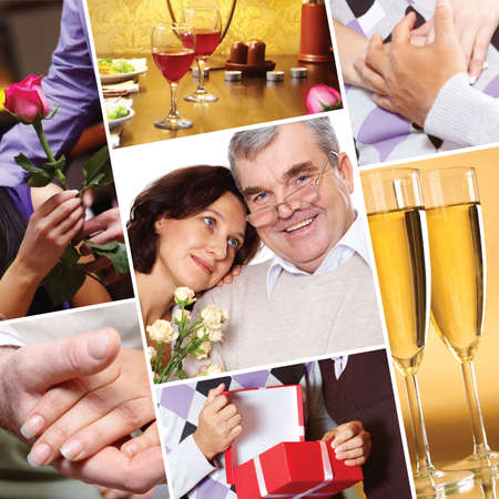 compiled: Collage compiled of images of a senior couple