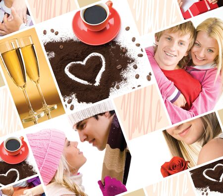 Collage made of valentines images and symbols of love  photo