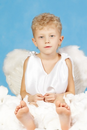 Portrait of little boy in angelic costume on a blue background    photo