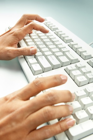 Close-up of female hands doing computer work Stock Photo - 9368304