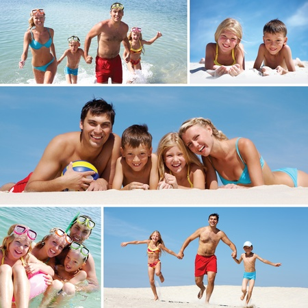 Collage made of images of a family having fun on the beach  photo
