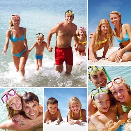 Collage de im�genes de una familia de nataci�n y tomar el sol  Foto de archivo - 9374397