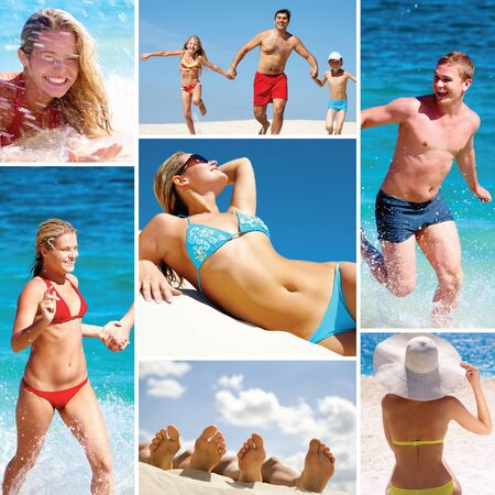 Collage made of images of people on the beach  photo