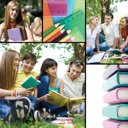 Collage of students� life in university Stock Photo - 9374392