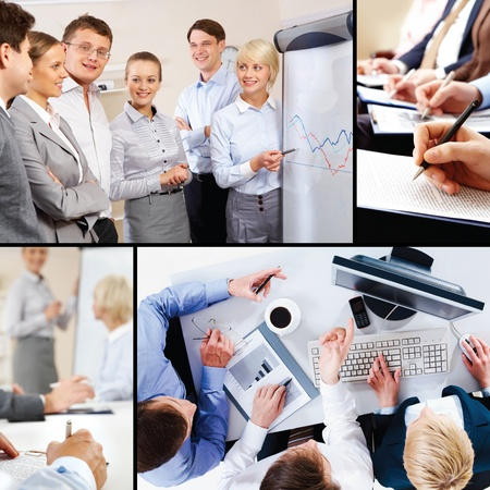 Collage of business interaction and education  photo