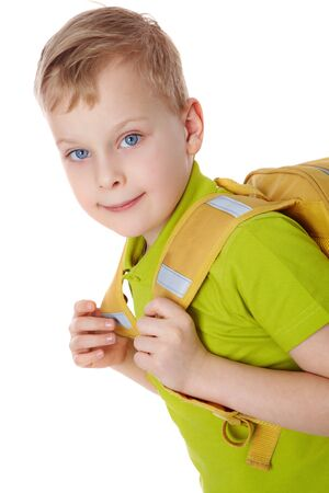 Portrait of a boy with satchel  photo