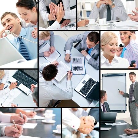 Collage of business people and business objects photo