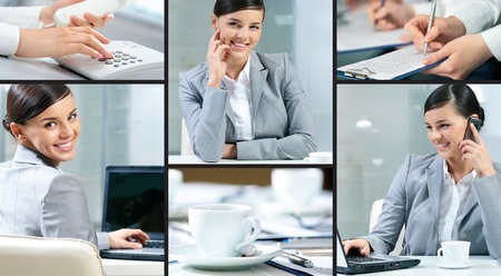 Collage made of images of a pretty businesswoman photo