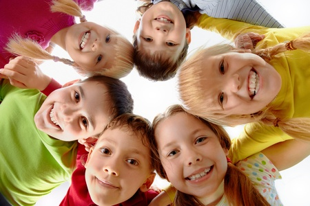 friendship circle: Image of happy kids representing youth and fun