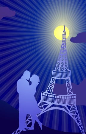 couple kissing in the Paris Stock Vector - 9414610