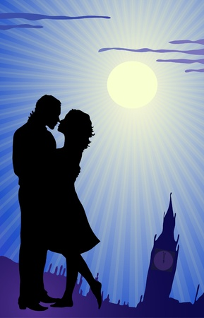 romantic getaway: couple kissing during tour in England  Illustration
