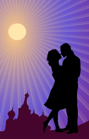 happiness people silhouette on the sunset: silhouette of Russian couple kissing  Illustration