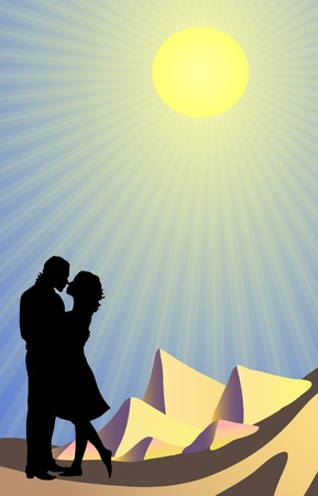 silhouette of couple kissing in the Sahara  Stock Vector - 9414609