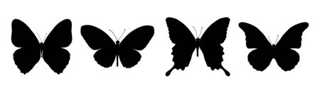 butterflies flying: Silhouette of painting four black butterflies Illustration