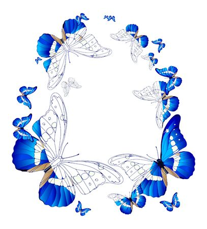 lepidoptera: Vector illustration of oval frame of blue butterflies  Illustration