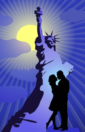 Vector illustration of silhouette of couple kissing on the background of Statue of Liberty Stock Vector - 9414783