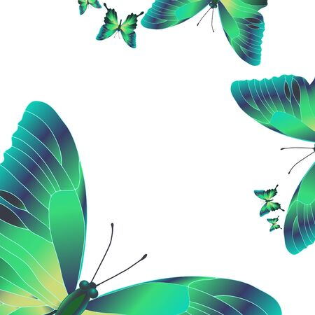 space antenna: Vector illustration of bright green butterflies