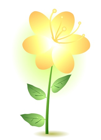 clip art draw: Vector illustration of a yellow lily