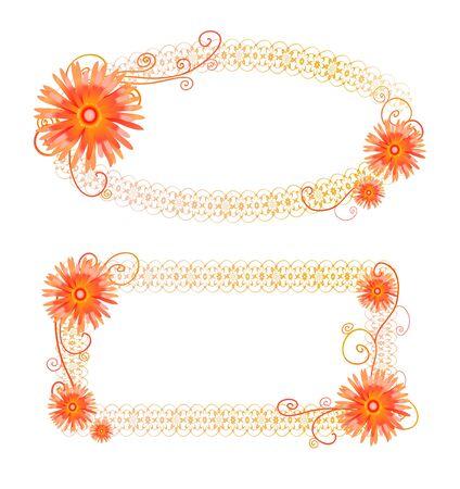Illustrazione vettoriale con due telai arancione con fiori