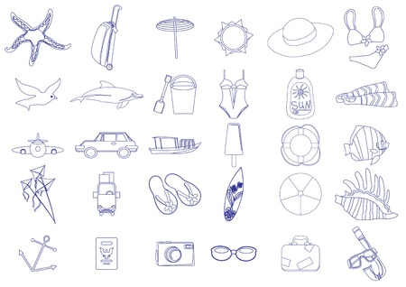 clip art draw: Collection of tourism and summer vacation icons