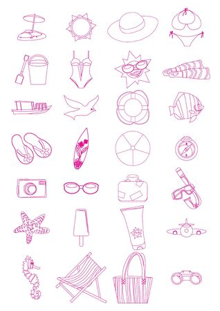 Collection of summer vacation icons Stock Vector - 9416167