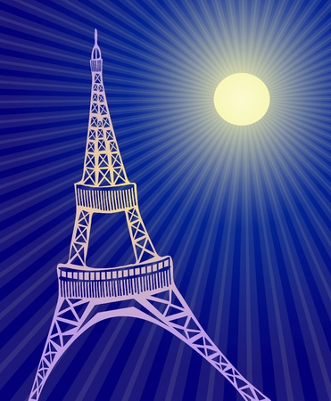 illustration of Eiffel  tower in Paris during night  Vector
