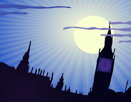 moonrise: illustration of United Kingdom in the nighttime