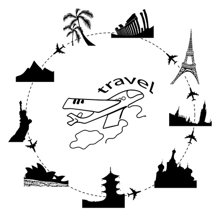 illustration of traveling by plane around the world