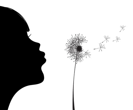 dandelion wind: illustration of silhouette of girl blowing to dandelion