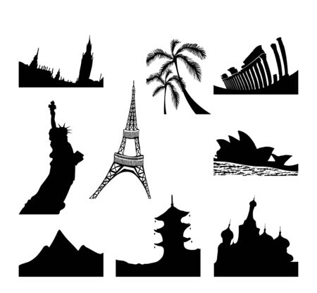 Vector illustration of different countries sights Stock Vector - 9416154