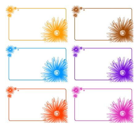 orange gerbera: Collection of colorful banners with floral decor  Illustration