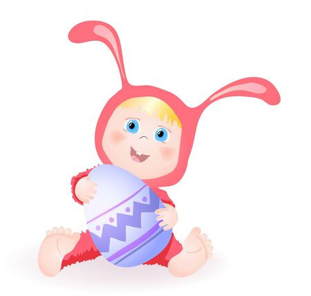 A little baby girl in bunny dress holding an egg and smiling Vector