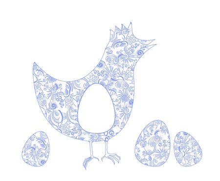 Ornate chicken with eggs  Vector