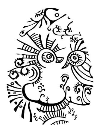 Ornate seamless egg-shaped composition  Vector