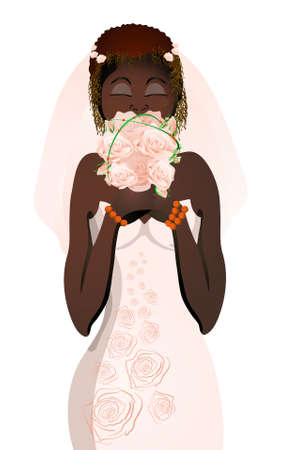 smelling: Vector illustration of beautiful bride in wedding dress smelling flowers