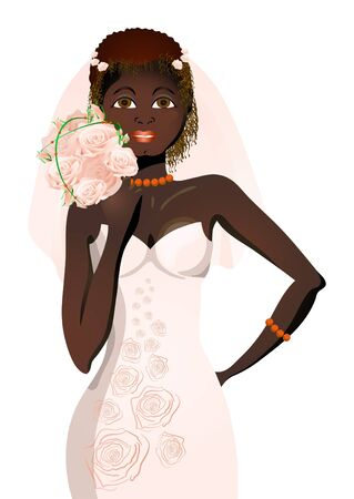 Vector illustration of beautiful bride in wedding dress holding bouquet of flowers Vector