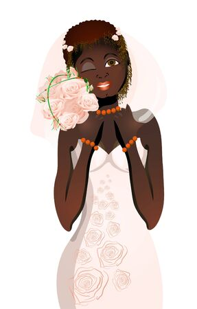 Vector illustration of beautiful bride with bouquet of flowers blinking  Vector