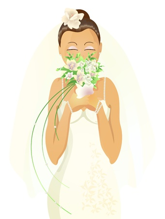 Vector illustration of beautiful bride with closed eyes smelling flowers  Vector