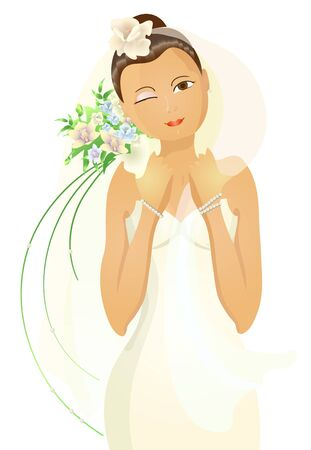 Vector illustration of beautiful bride with flowers winking   Vector