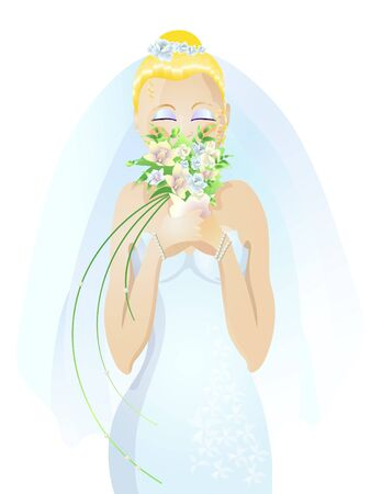 Vector illustration of beautiful bride smelling flowers Stock Vector - 9426972