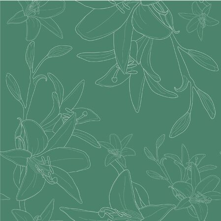 Vector illustration of green seamless pattern with lilies  Vector