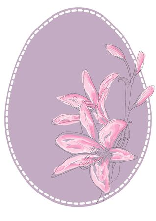 Vector illustration of Easter egg with flowers Vector