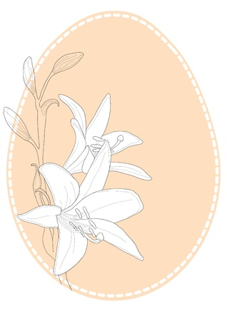 Vector illustration of Easter egg with lilies  Vector