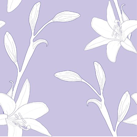 Seamless pattern with lilies, vector illustration Vector