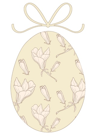 Vector illustration of floral Easter egg with bow Vector