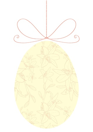 Vector illustration of yellow floral Easter egg on ribbon Vector