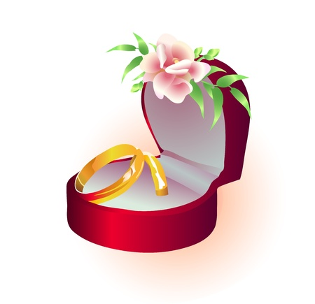 Vector illustration of wedding golden rings in a box with flower Stock Vector - 9426960