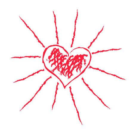 Vector illustration of heart-shaped sun Vector