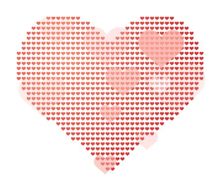 corazon: Vector illustration of big heart made of small ones